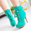 Fashion Green Velvet Paillette Stiletto Heel Short Boots