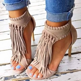 Ericdress Nude Tassels Decoration Stiletto Sandals