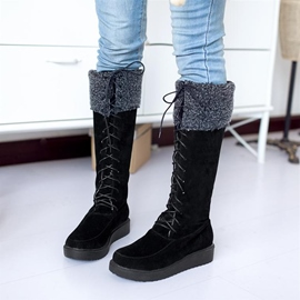 Korean Sweet Suede Lace-up Knee High Boots