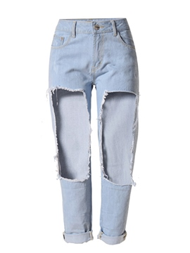 Ericdress Straight Plain Casual Hole Jeans