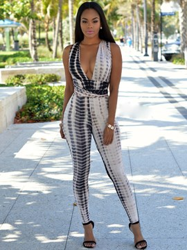 Ericdress Sexy Print Halter Jumpsuits Pants