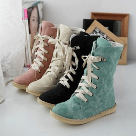 Concise Lace-Up PU Flat Heel Martin Boots