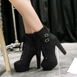 Ericdress Chunky Heel Lace-up Ankle Boots