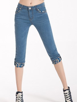 Ericdress Polka Dots Patchwork Jeans