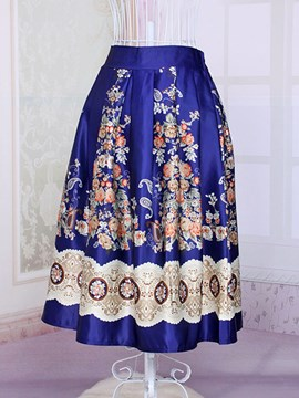 Ericdress Blue High Waist Pleated Dress