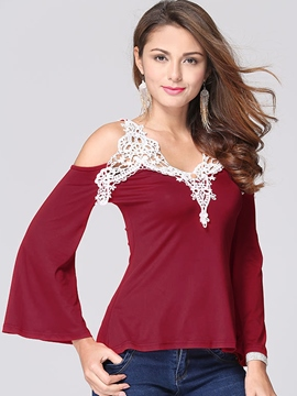 Ericdress Patchwork Off-Shoulder V-Neck T-Shirt