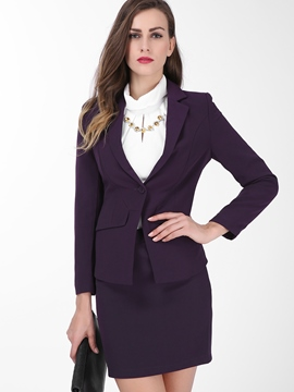 Ericdress Women's Plain Long-Sleeve Blazer and Bodycon Skirt Suit