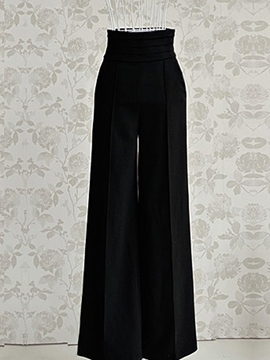Ericdress Women's Black Wide-Leg High-Waist Pants