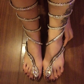 Ericdress Unique Snake Shape Rhinestone Decoration Flat Sandals