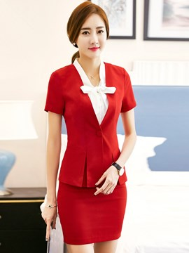 Ericdress OL Short Sleeve Blazer Two Piece Suit