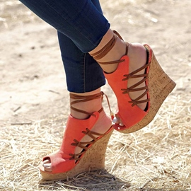 Ericdress Fashion Lace-up Wedge Sandals