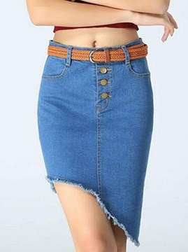 Ericdress Asymmetric Denim Column Skirt