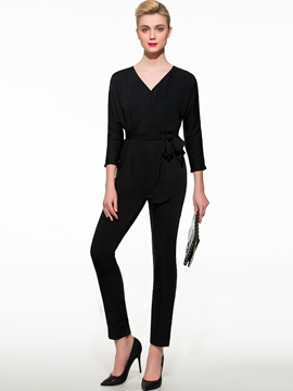 Ericdress Lace-Up V-Neck Jumpsuits Pants