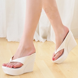 Ericdress Korean Delicate White Wedge Slippers