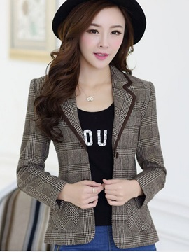 Ericdress Short Style Plaid Blazer