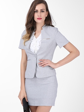 Ericdress Women's Short-Sleeve Blazer and Bodycon Skirt Suit