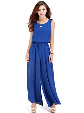 Ericdress Slim Wide Legs Jumpsuit Pants