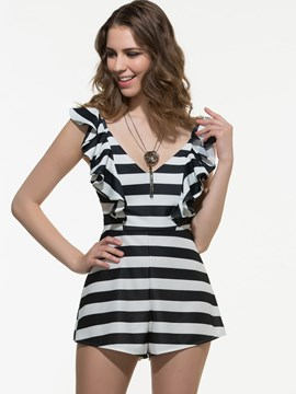 Ericdress Frill Stripe Jumpsuits Pants