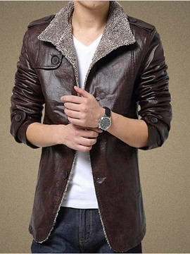 Ericdress Plain Thicken Flocking Warm Men's PU Coat