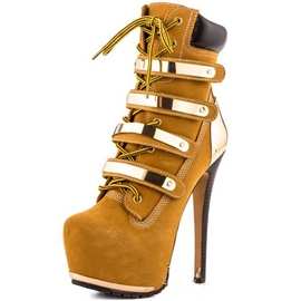 Hot Golden Straps Side Zipper High Heels Ankle Boots