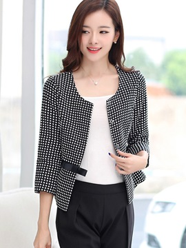 Ericdress Hidden Button Polka Dots Blazer
