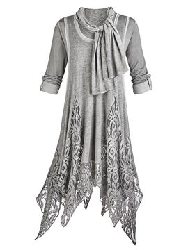 Ericdress Lace Patchwork Asymmetric with Scarf Casual Dress