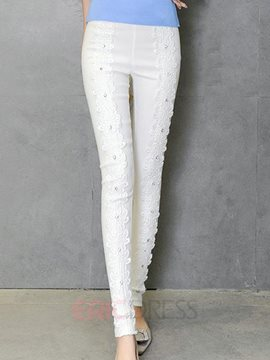 Ericdress Sweet Lace Patchwork Leggings Pants