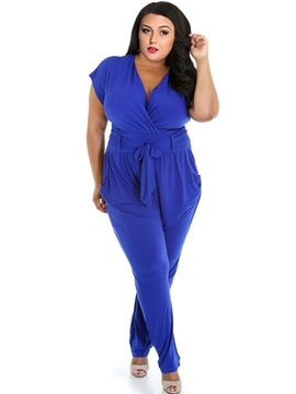 Ericdress Plain Pleated Plus Size Jumpsuits Pants