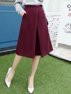Ericdress Solid Color Pleated Usual Skirt