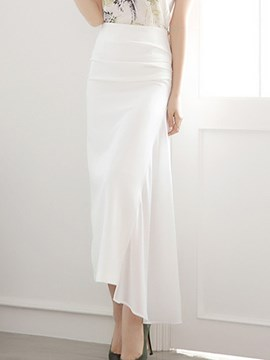 Ericdress Solid Color Asymmetric Maxi Skirt
