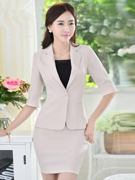 Ericdress Slim Solid Color Formal Suit