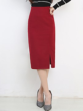 Ericdress Solid Color Split Column Skirt