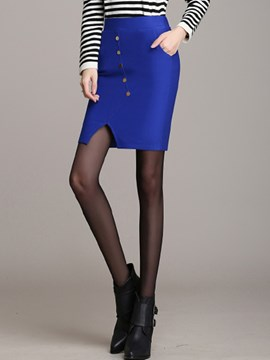 Ericdress Solid Color Button Decoration Column Skirt