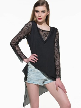 Ericdress Asymmetric Lace Patchwork T-Shirt