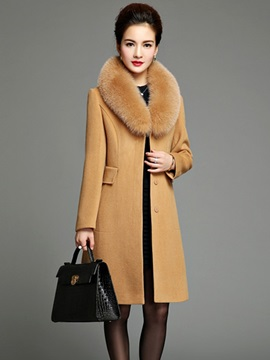 Woolen Hidden Button Luxury Big Fox Fur Collar Coat
