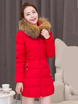 Ericdress Solid Color Slim Coat