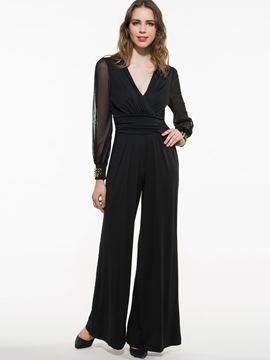 Long Mesh Sleeves Bodysuit Jumpsuit Stylish Pants