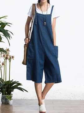 Ericdress Loose Denim Overalls