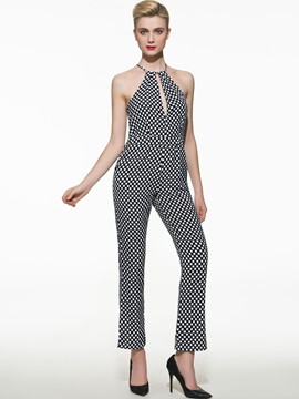 Ericdress Fashion Halter Polka Dots Jumpsuits Pants
