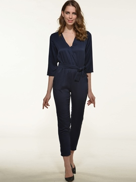 Ericdress V-Neck Three-Quarter Sleeve Jumpsuits Pants