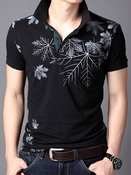 Ericdress Short Sleeve Leaf Printed Men's T-Shirt