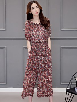 Ericdress Floral Print Slash Neck Jumpsuits Pants