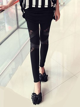 Ericdress Skinny Hollow Lace Patchwork Leggings Pants