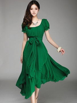 Ericdress Slash Neck Falbala Chiffon Dress