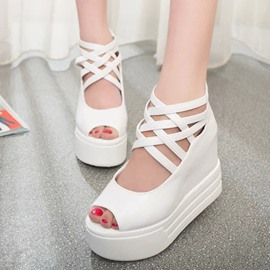 Ericdress Delicate Pu Wedge Sandals