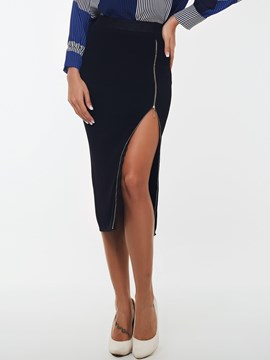 Ericdress Unique Zipper Column Skirt