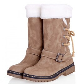 Preppy Design Snow Boots with Buckles