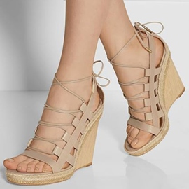 Classic Strape Straw Wedge Sandals