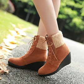 Ericdress Suede Lace-up Wedge Ankle Boots