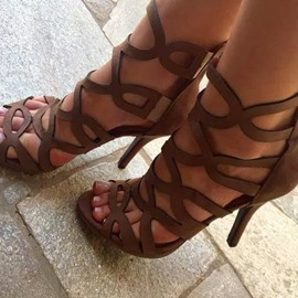 Ericdress Coffee Cut Out Stiletto Sandals